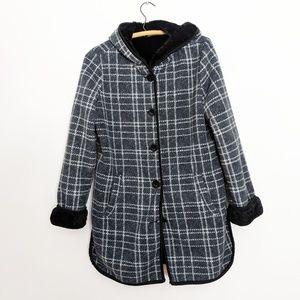 Ike Behar Navy Plaid Fleece Hooded  Pea Coat